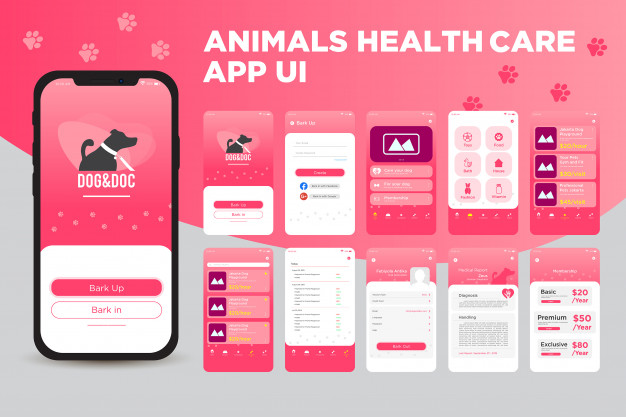 Animals health care app ui kit