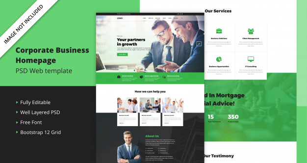 Corporate business home page template