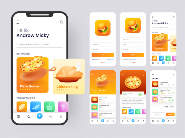Food mobile app ui kit including
