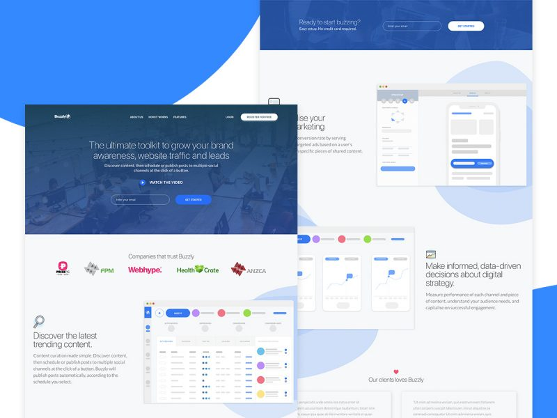 Buzzly homepage design